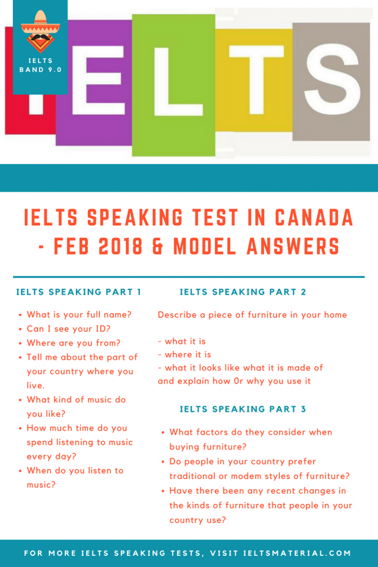 IELTS Speaking Test in Canada - Feb 2018 & Model Answers