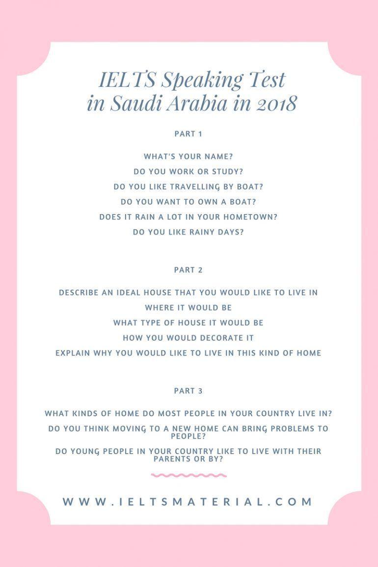 IELTS Speaking Test in Saudi Arabia in 2018
