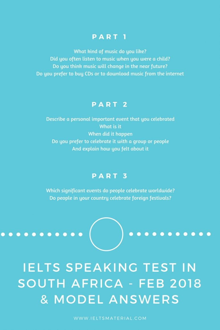 IELTS Speaking Test in South Africa - Feb 2018 & Model Answers