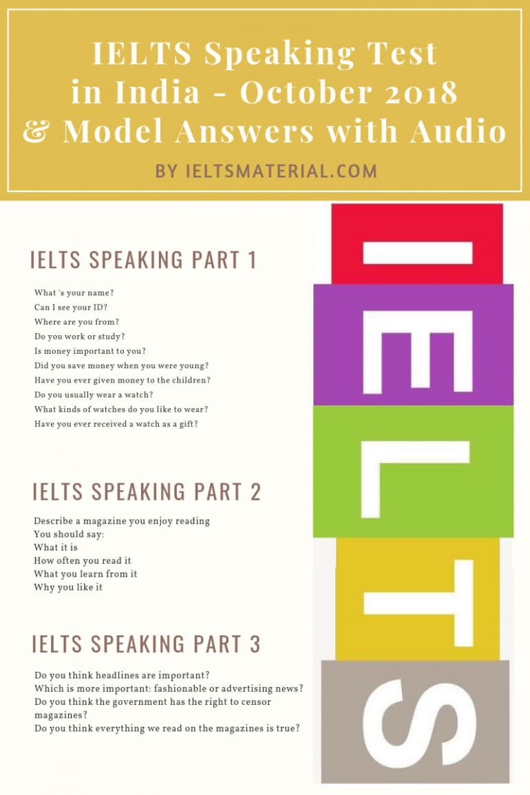 IELTS Speaking Test in October 2018 in India & Band 9 Sample with Audio