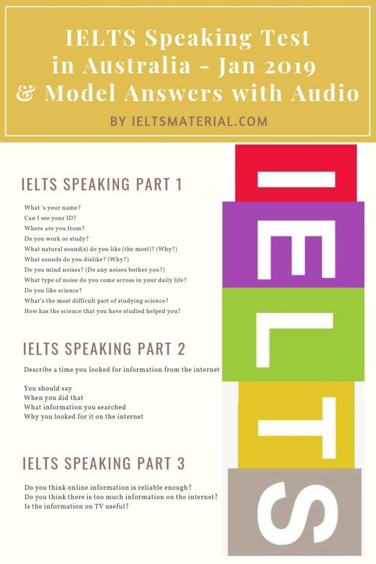 IELTS Speaking Test in Jan 2019 & Band 9 Model Answers