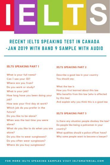 ielts speaking exam in canada jan 2019