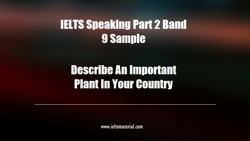 IELTS Speaking Part 2 Band 9 Sample Topic Describe An Important Plant In Your Country