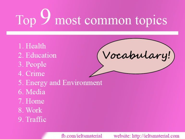 Vocabulary for Top 9 Most Common Topics in IELTS Exam