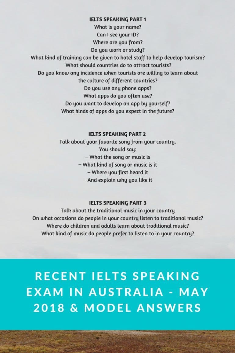 Recent IELTS Speaking Exam in Australia - May 2018 & Model Answers