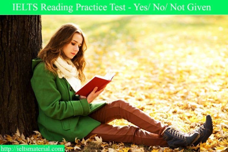 IELTS Reading Practice Test - Yes/No/Not Given