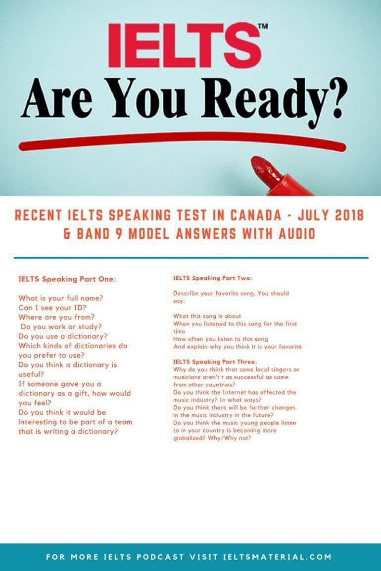 IELTS Podcast 1: Recent IELTS Speaking Test in Canada - July 2018 & Model Answers with Audio