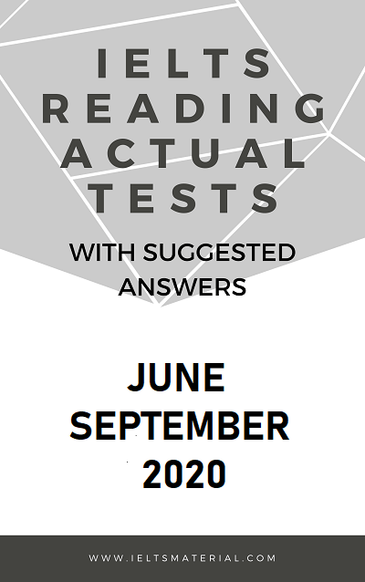 IELTS Reading Actual Test June to September 2020