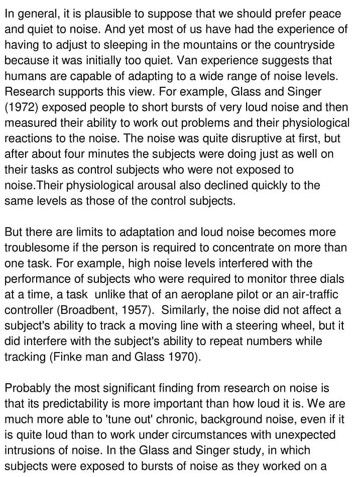 Effects of Noise Reading Answers