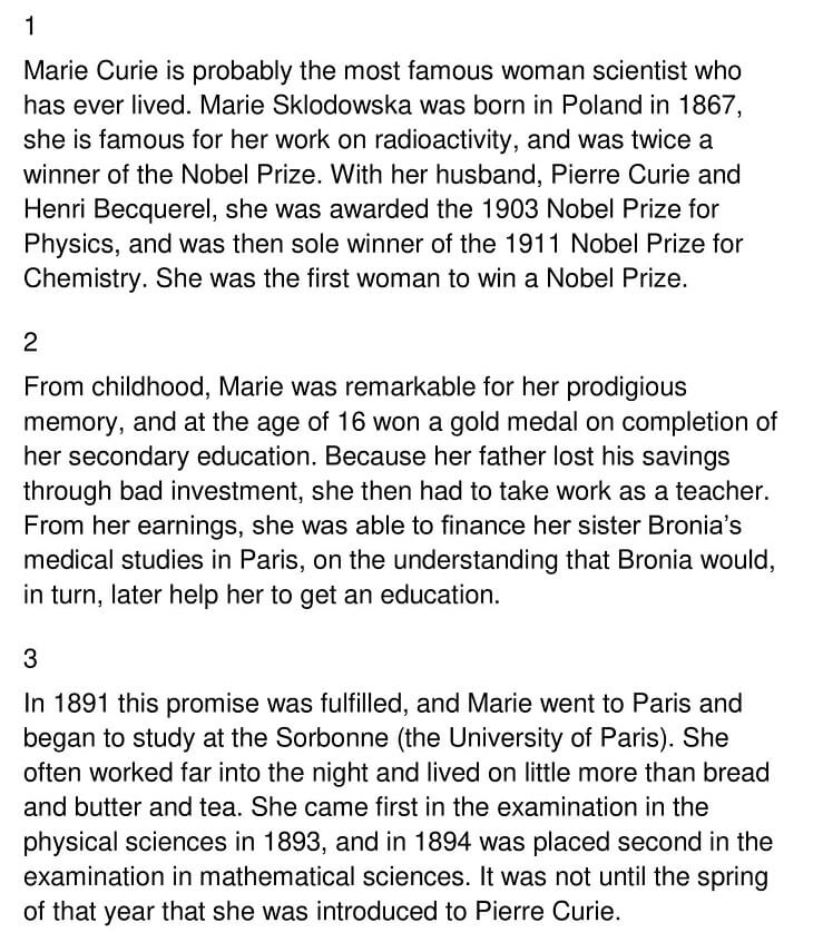 The Life and Work of Marie Curie 1