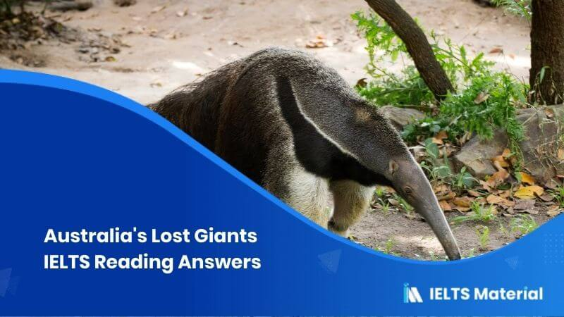 Australia's Lost Giants IELTS Reading Answers