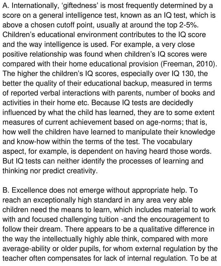 'Gifted children and Learning' Answers_0001