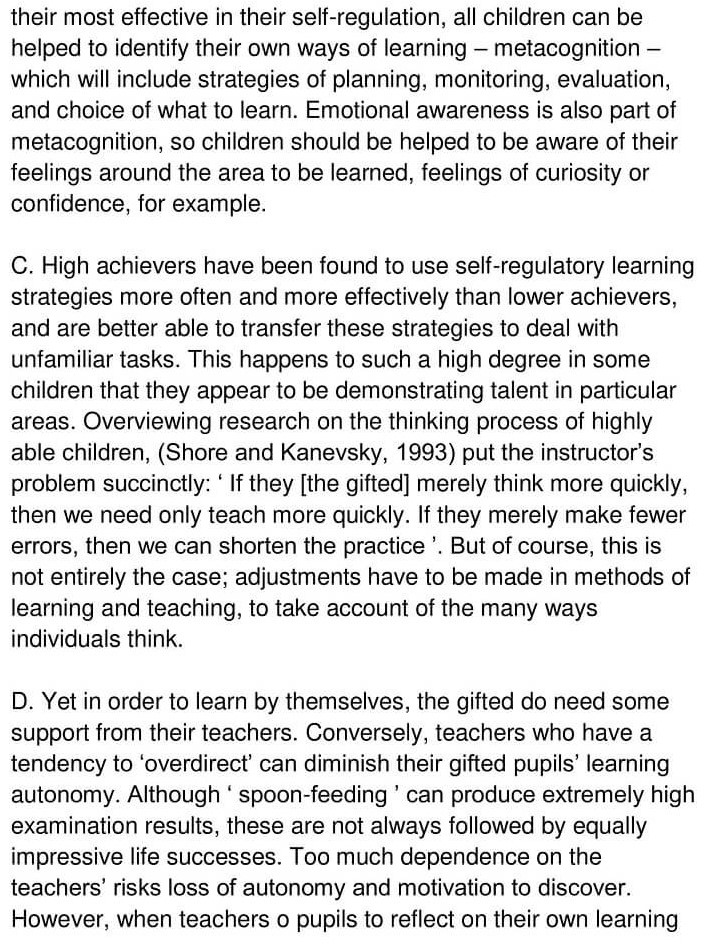 'Gifted children and Learning' Answers_0002
