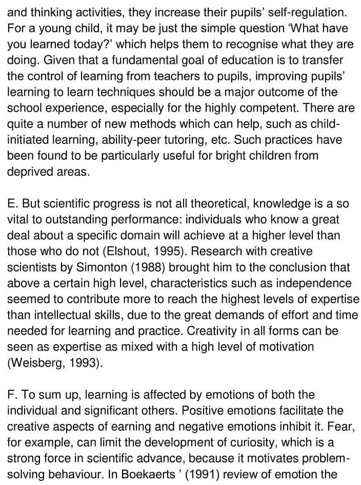 'Gifted children and Learning' Answers_0003