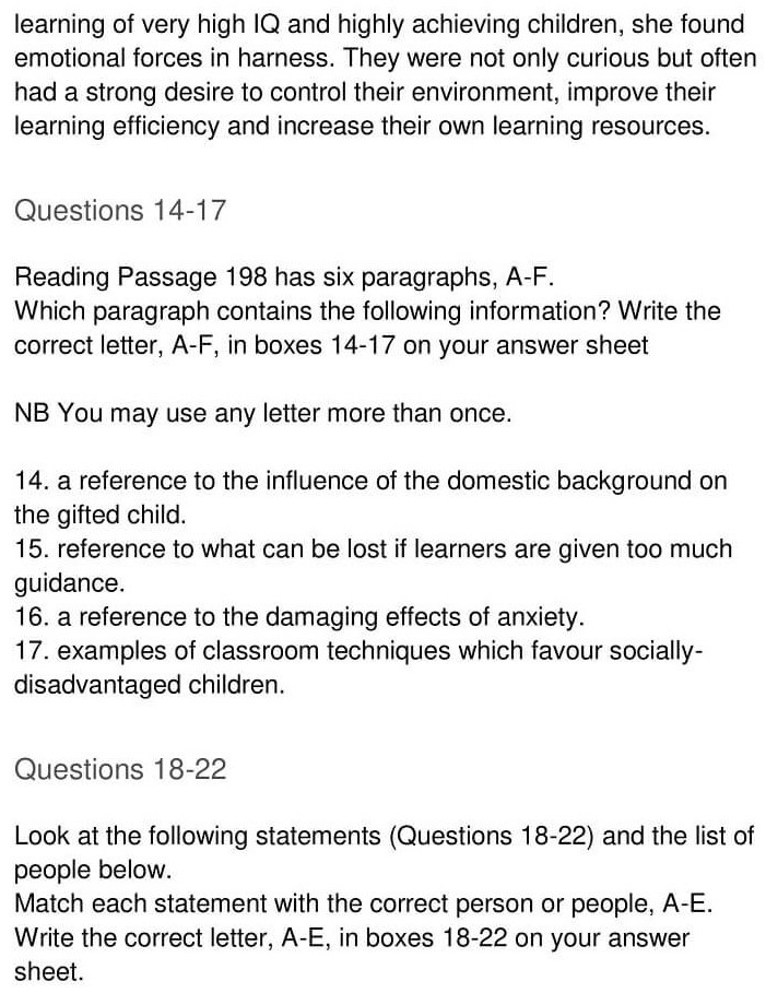 'Gifted children and Learning' Answers_0004