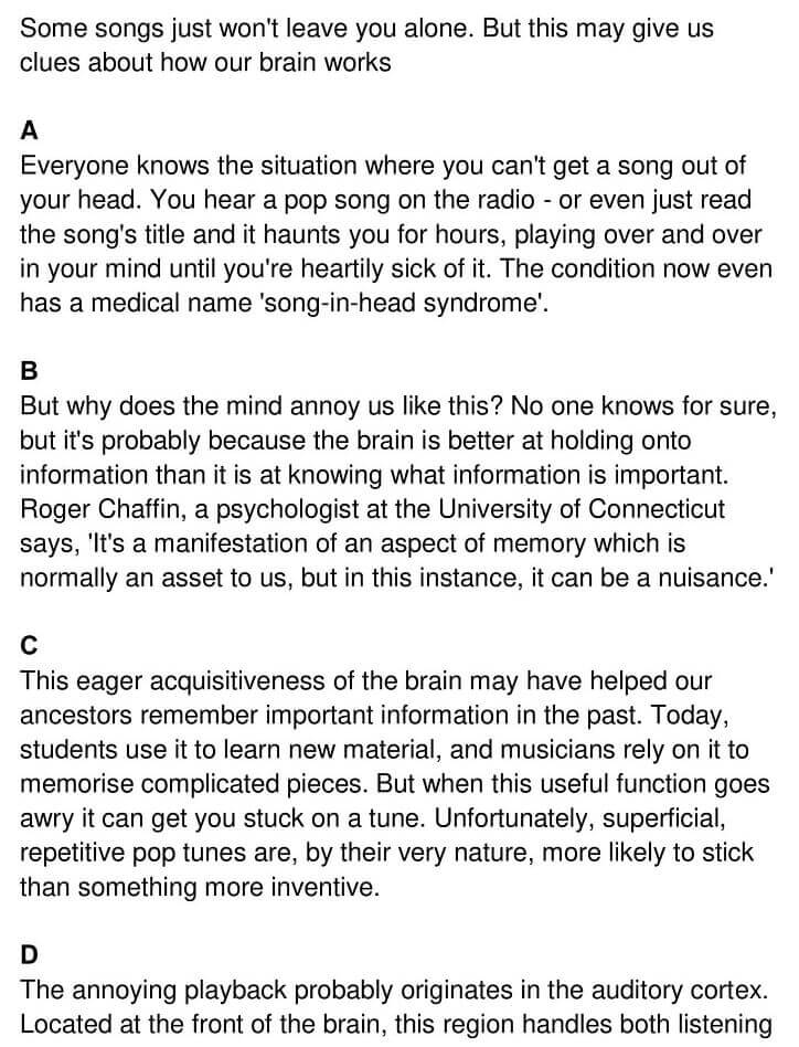 'A song on the brain' Answers_0001