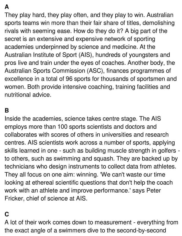 'Australia's Sporting Success' Answers_0001