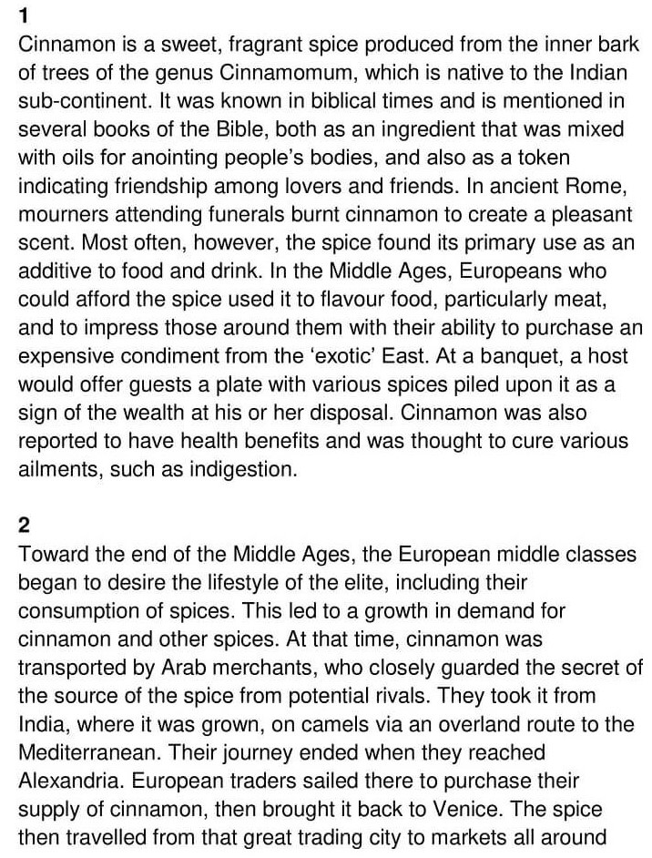 'Bringing Cinnamon to Europe' Answers_0001