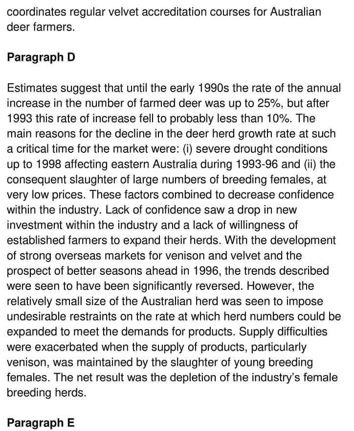 'Deer Farming in Australia' Answers_0003