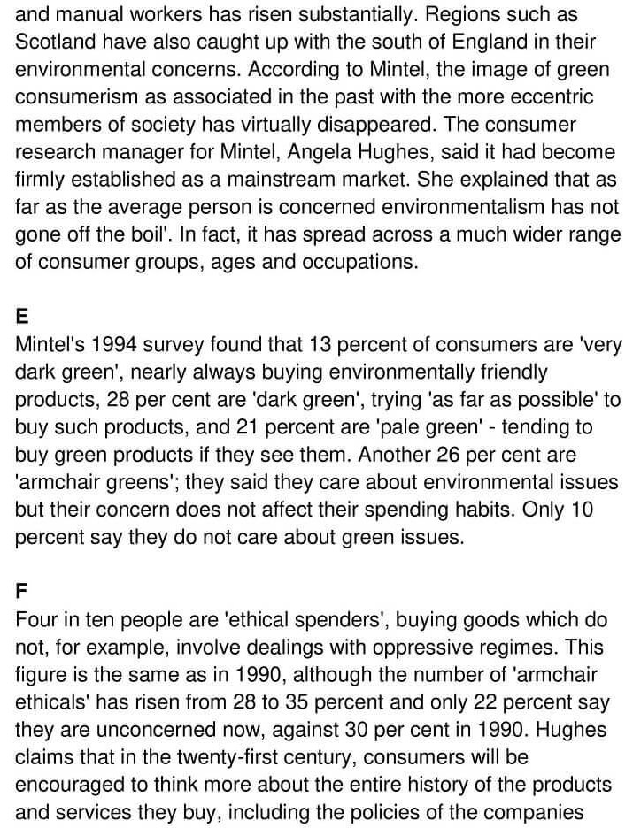 'Green Wave Washes over Mainstream Shopping' Answers_0002