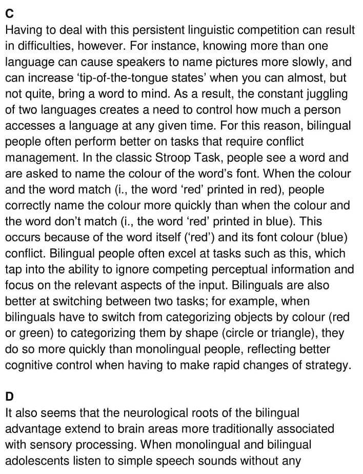'The Benefits of Being Bilingual' Answers_0002