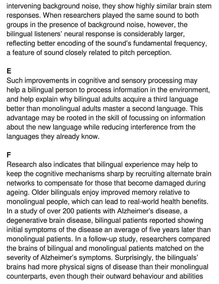 'The Benefits of Being Bilingual' Answers_0003