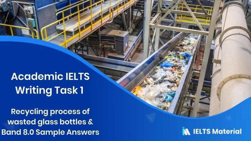 Academic IELTS Writing Task 1 - topic : Recycling process of wasted glass bottles & Band 8.0 Sample Answers