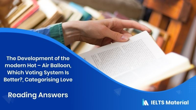 The Development of the modern Hot – Air Balloon, Which Voting System Is Better?, Categorising Love- Reading Answers