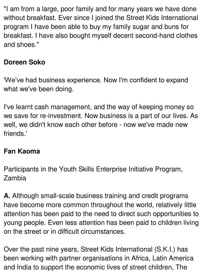 Micro-Enterprise Credit for Street Youth - 0001