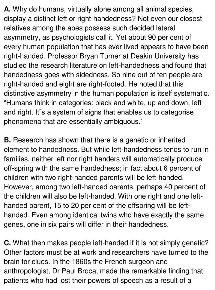 Right and left handedness in humans - 0001