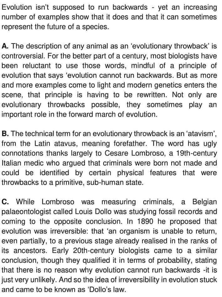 When evolution runs backwards - 0001