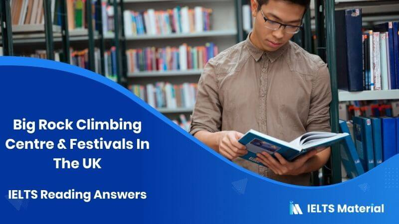 Big Rock Climbing Centre & Festivals In The UK IELTS Reading Answers