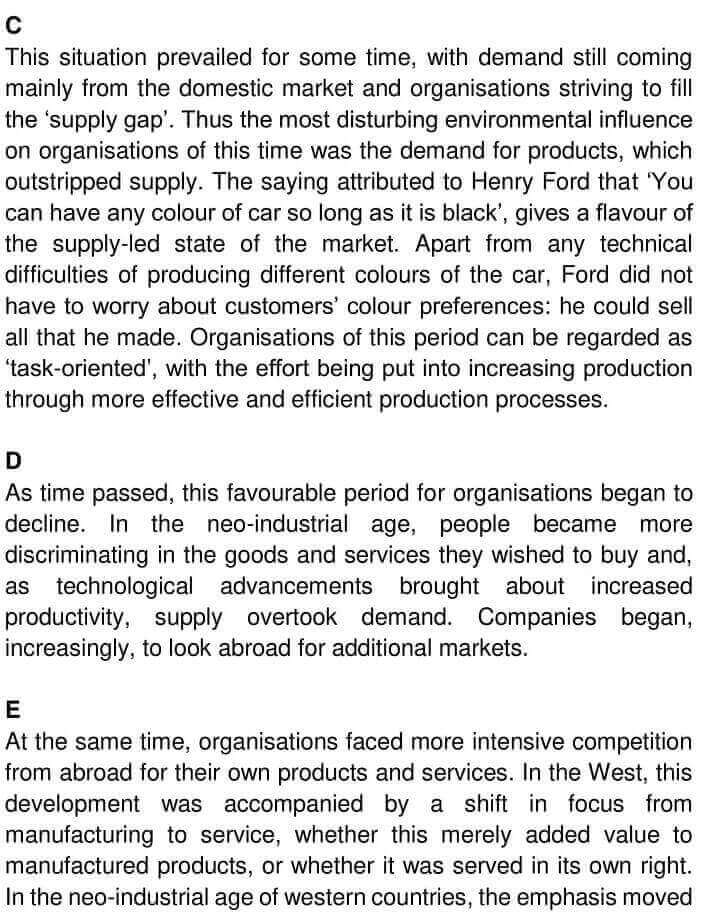 IELTS Academic Reading 'Change in business organisations' Answers - 0002