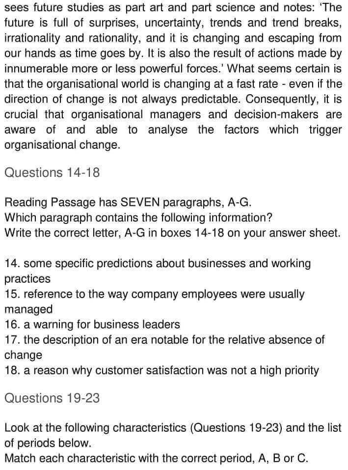 IELTS Academic Reading 'Change in business organisations' Answers - 0004