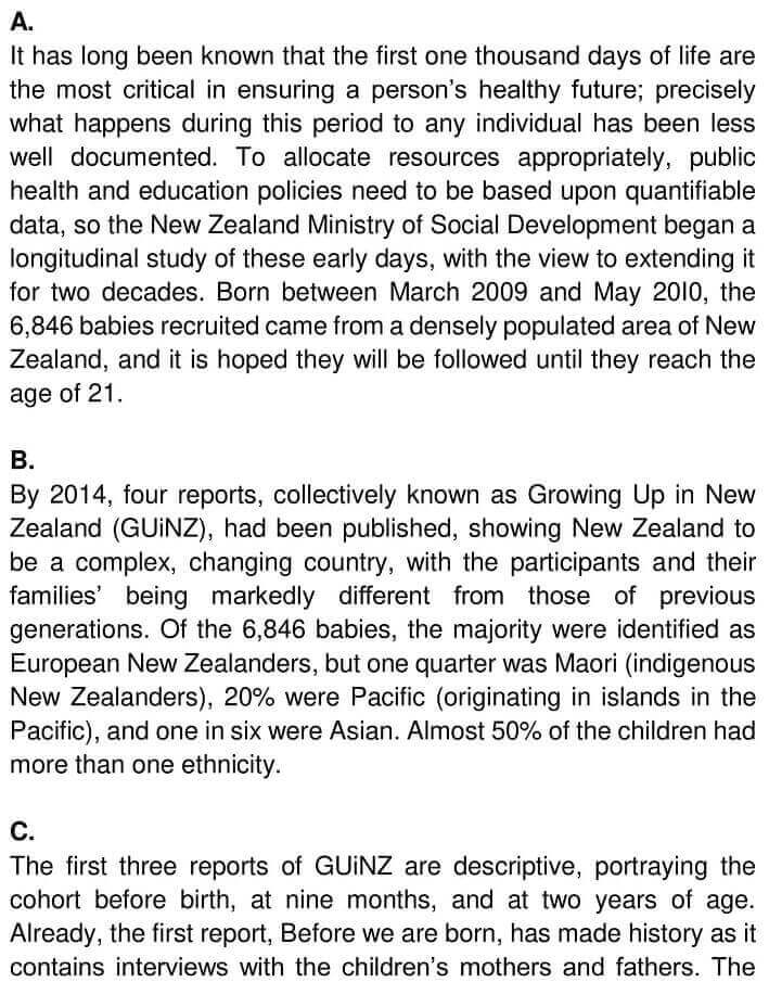 IELTS Academic Reading 'Growing up in New Zealand' Answers - 0001