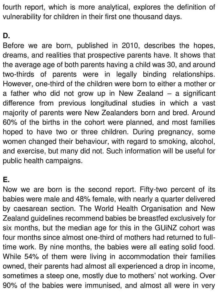 IELTS Academic Reading 'Growing up in New Zealand' Answers - 0002