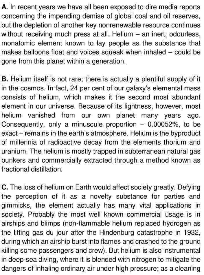 IELTS Academic Reading 'Helium's Future Up In The Air' Answers - 0001
