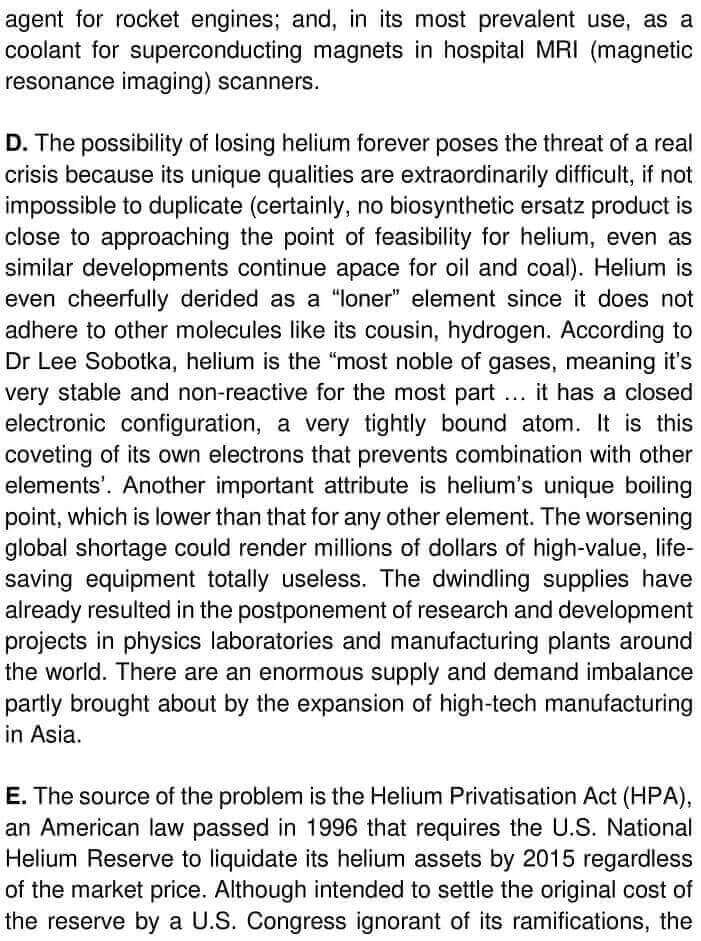 IELTS Academic Reading 'Helium's Future Up In The Air' Answers - 0002