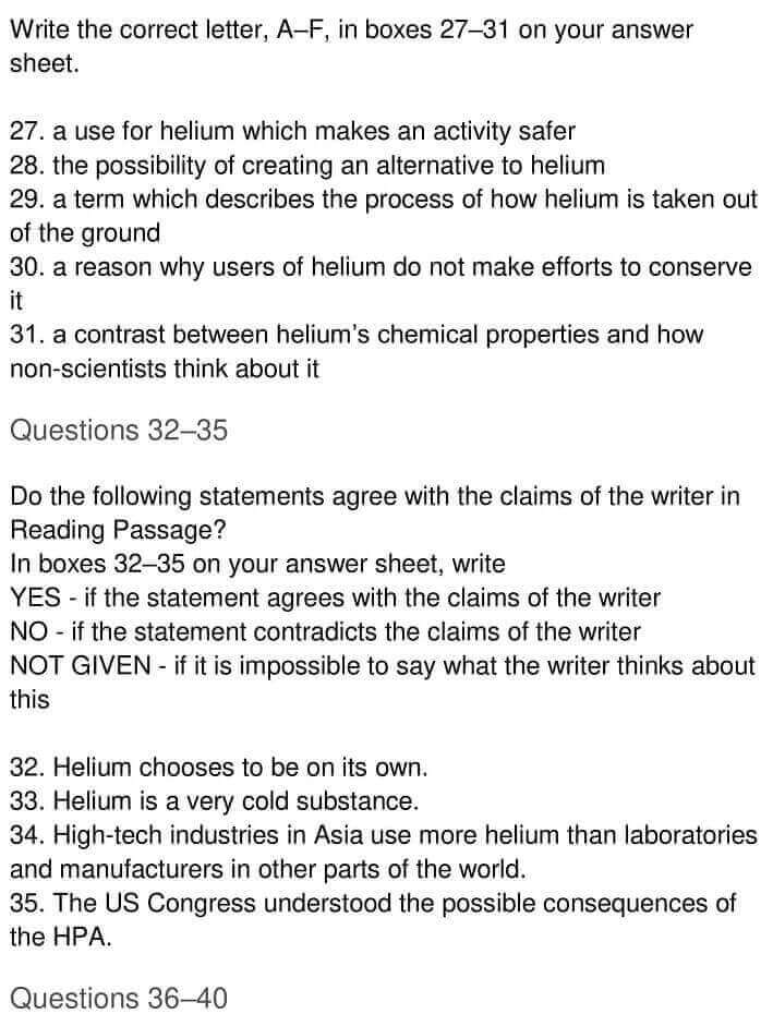 IELTS Academic Reading 'Helium's Future Up In The Air' Answers - 0004