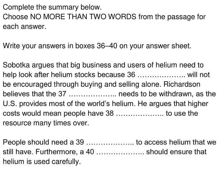 IELTS Academic Reading 'Helium's Future Up In The Air' Answers - 0005