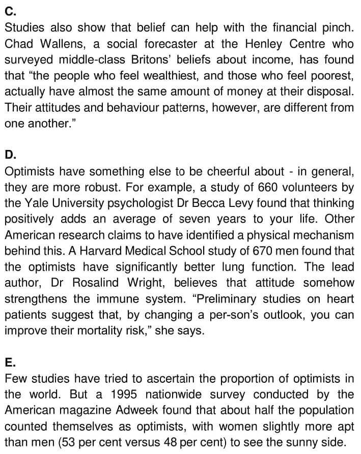 IELTS Academic Reading 'Optimism and Health' Answers - 0002