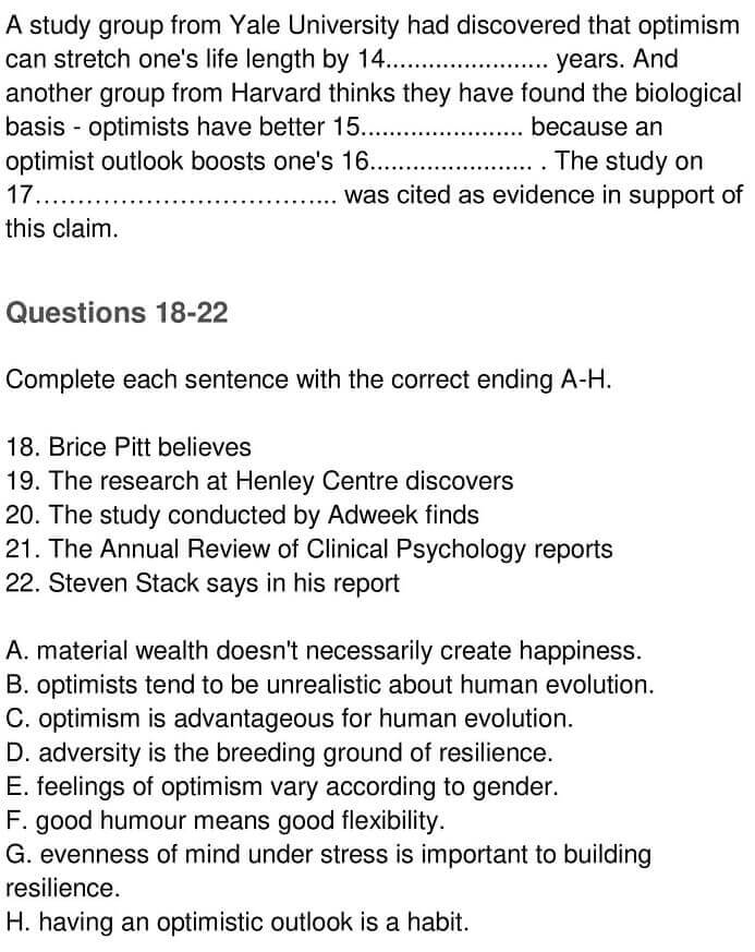IELTS Academic Reading 'Optimism and Health' Answers - 0005