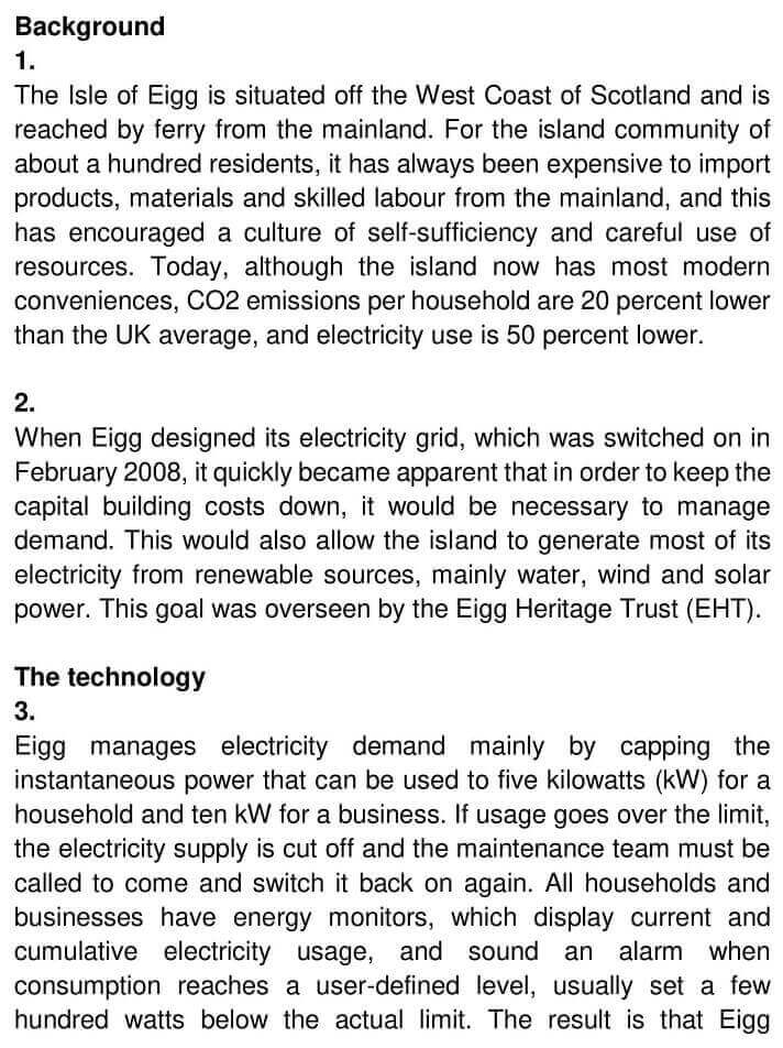 IELTS Academic Reading 'Reducing electricity consumption on the Isle of Eigg' Answers - 0001