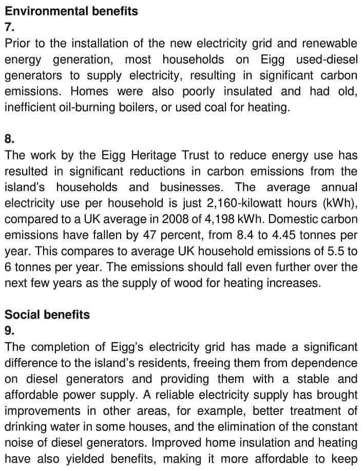 IELTS Academic Reading 'Reducing electricity consumption on the Isle of Eigg' Answers - 0003