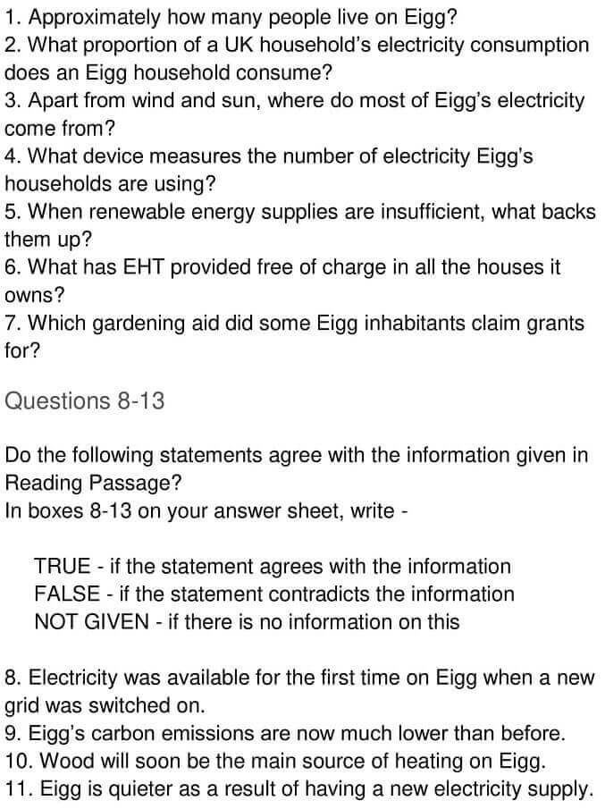 IELTS Academic Reading 'Reducing electricity consumption on the Isle of Eigg' Answers - 0005