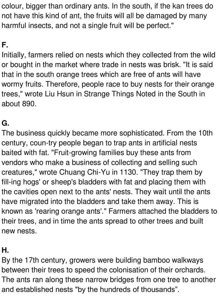 IELTS Academic Reading 'The Ant and the Mandarin' Answers - 0003
