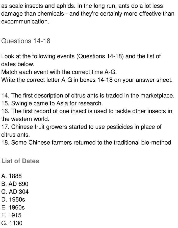 IELTS Academic Reading 'The Ant and the Mandarin' Answers - 0006