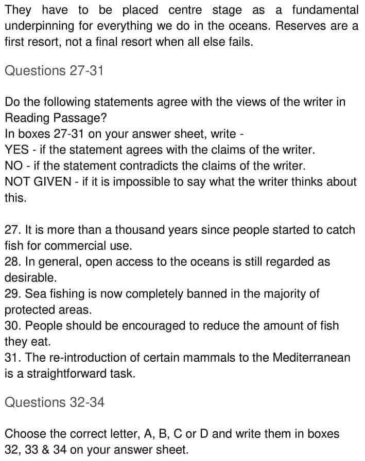 IELTS Academic Reading 'The Future of fish' Answers - 0004
