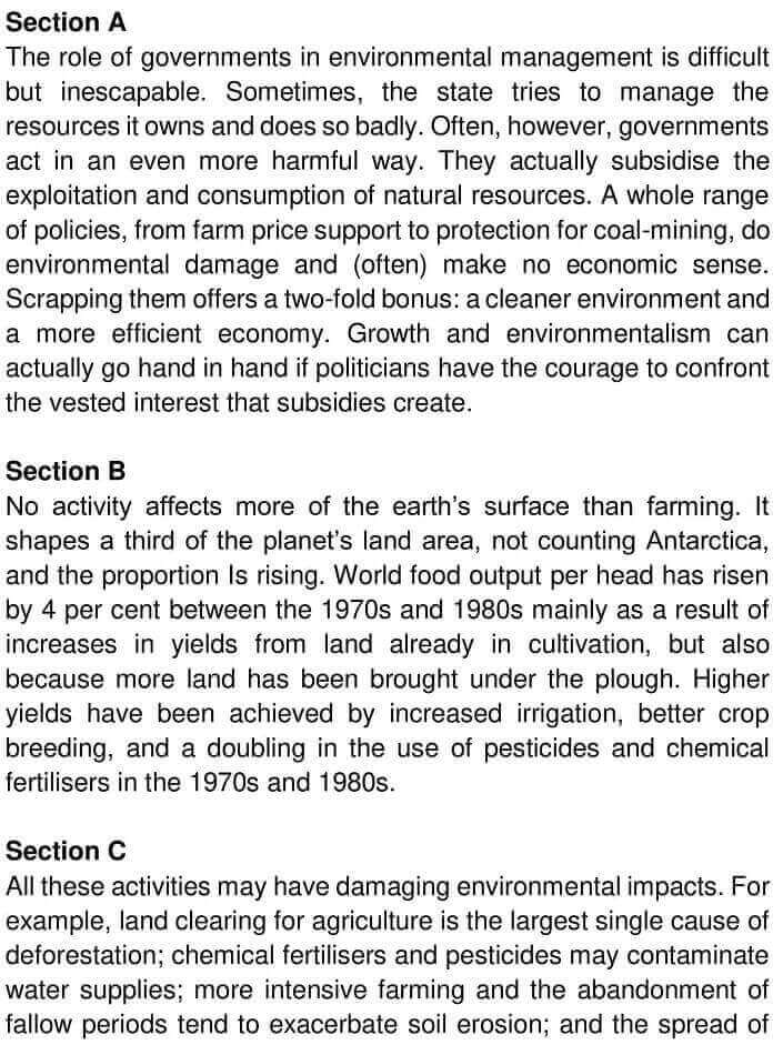 IELTS Academic Reading 'The Role of Government in Environmental Management' Answers - 0001