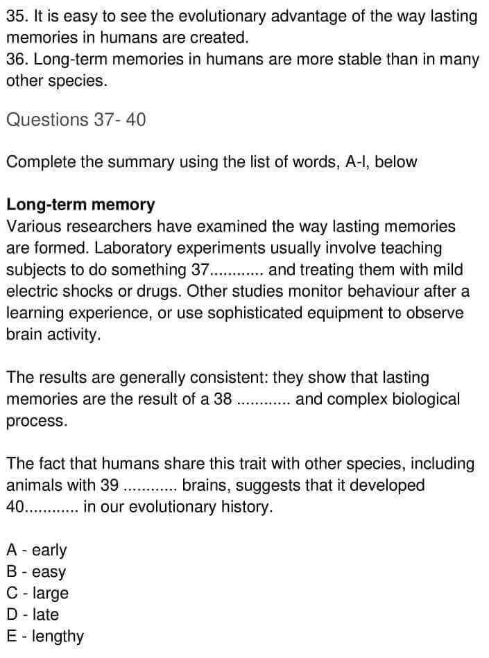 IELTS Academic Reading 'The creation of lasting memories' Answers - 0007